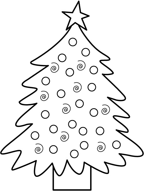 Christmas Tree Coloring Pages And Line Art Images Pictures Decorated Tree Coloring Page